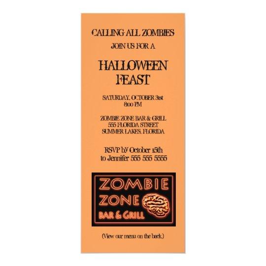 Zombie Zone Halloween Party Card