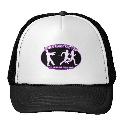 zombies against fast food light purple hats