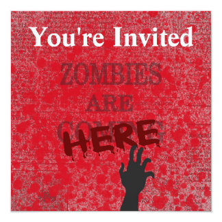 "Zombies Are Here Blood Splattered Newspaper 5.25"" Square Invitation Card"