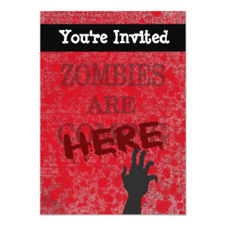 "Zombies Are Here Blood Splattered Newspaper 5"" X 7"" Invitation Card"