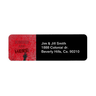 Zombies Are Here Blood Splattered Newspaper Return Address Label