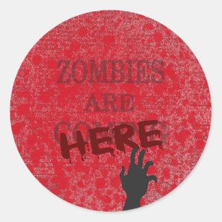Zombies Are Here Blood Splattered Newspaper Round Sticker
