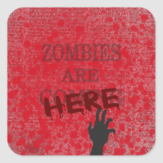 Zombies Are Here Blood Splattered Newspaper Square Sticker