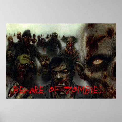 """Zombies """"Beware of Zombies"""" Halloween Poster"""