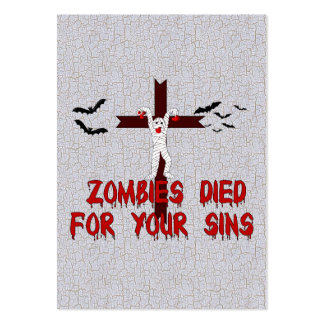 Zombies Died For Your Sins Large Business Cards (Pack Of 100)