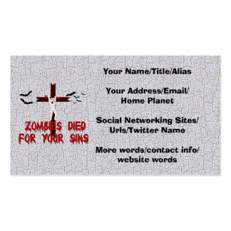 Zombies Died For Your Sins Pack Of Standard Business Cards