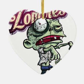 Zombies eat Brains Ceramic Heart Ornament