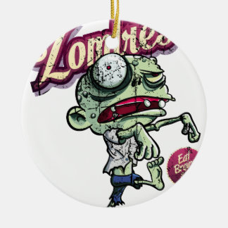 Zombies eat Brains Round Ceramic Ornament