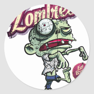 Zombies eat Brains Round Sticker