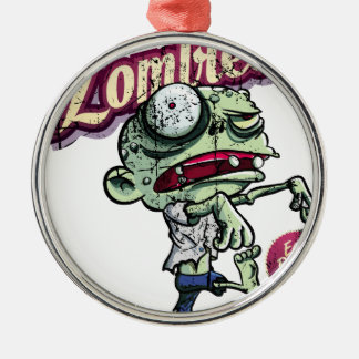 Zombies eat Brains Silver-Colored Round Ornament