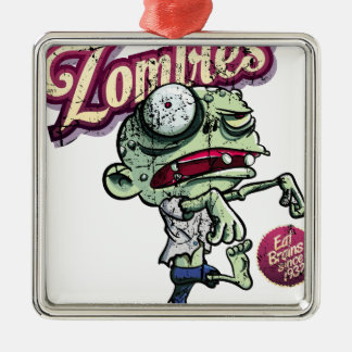 Zombies eat Brains Silver-Colored Square Ornament
