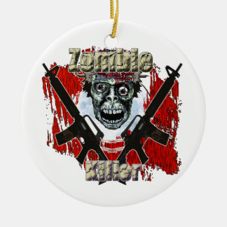 Zombies eat lead round ceramic ornament
