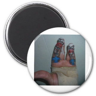 Zombies Eating Brains Funny Zombie Fingers Painted 2 Inch Round Magnet
