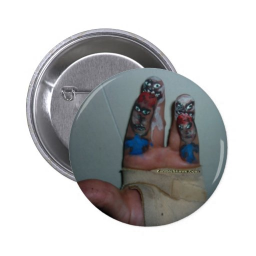 Zombies Eating Brains Funny Zombie Fingers Painted Buttons