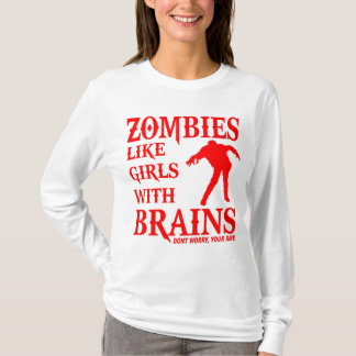 ZOMBIES LIKE GIRLS WITH BRAINS RED LOGO T-Shirt