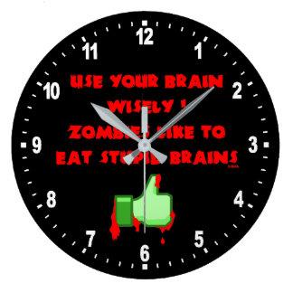 Zombies like stupid brains wall clocks