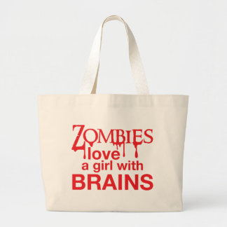 Zombies love a girl with brains! canvas bags