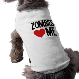 Zombies love me doggie tee