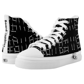 Zombies Nailed It Black And White Pattern High Tops