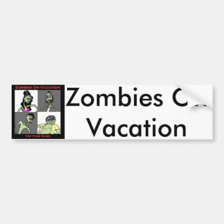 Zombies On Vacation - Four Faces Bumper Sticker