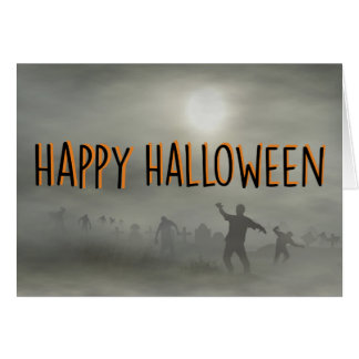 Zombies Walking in Graveyard Happy Halloween Card