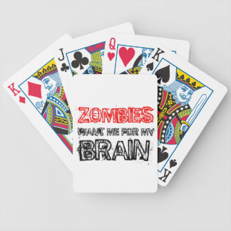 zombies want me for my brain bicycle playing cards