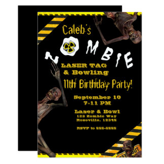 Zombies Yellow & Black Birthday Party Card