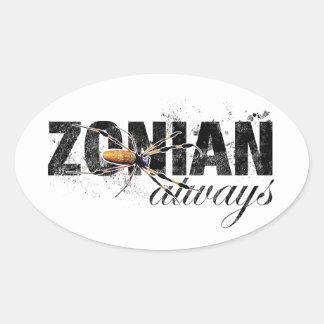 Zonian Always with Spider Oval Sticker