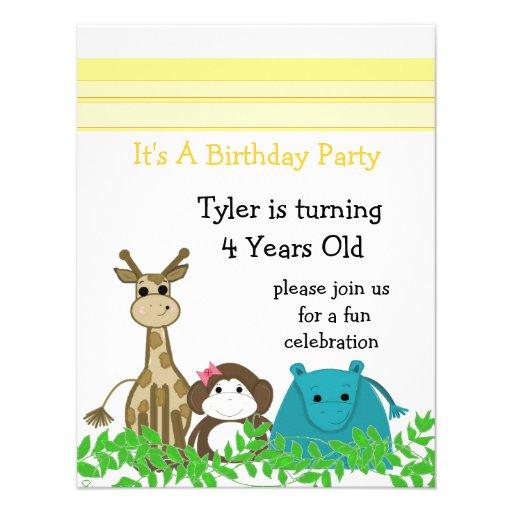 Zoo Animal Birthday Invitation