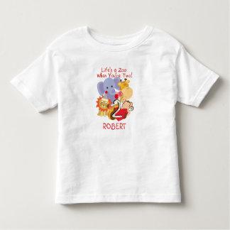 Zoo Animals 2nd Birthday Kids Customized T-shirt