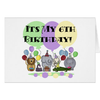 Zoo Animals 6th Birthday Tshirts and Gifts Card