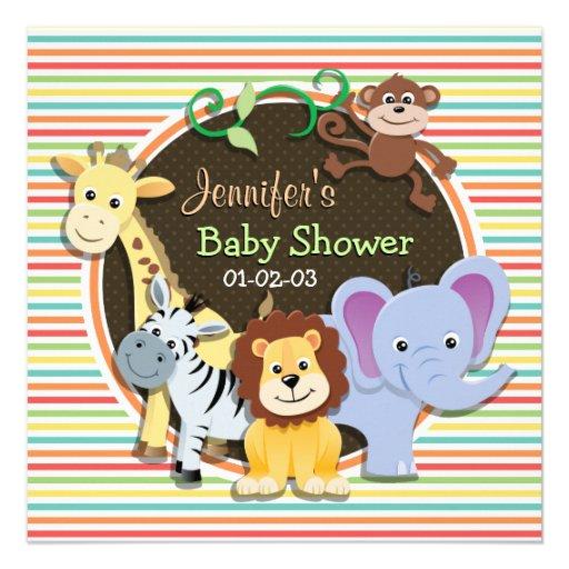Zoo Animals Baby Shower, Bright Rainbow Stripes Invites