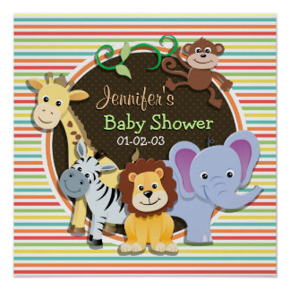 Zoo Animals Baby Shower Bright Rainbow Stripes Poster