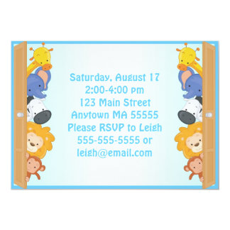 "Zoo Animals Blue Boy Birthday Invitation 5"" X 7"" Invitation Card"