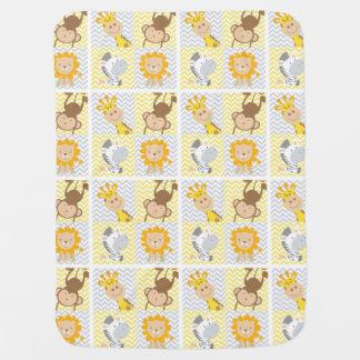 Zoo Animals Chevron Fleece Baby Blanket