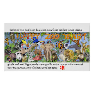Zoo Animals Childrens Wall Art Poster Print