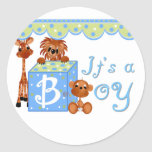 Zoo Animals It's a Boy Baby Annoucement Cards Round Stickers