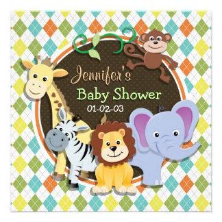 Zoo Animals on Colorful Argyle Personalized Invitation