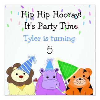 """Zoo Animals Party Invitation 5.25"""" Square Invitation Card"""