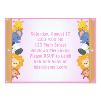 "Zoo Animals Pink Girl Birthday Invitation 5"" X 7"" Invitation Card"