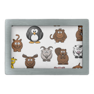 Zoo Animals Rectangular Belt Buckles