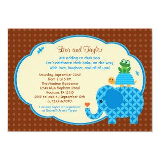 Zoo Baby Boy Shower Invitation
