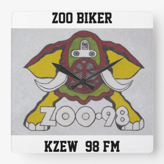 ZOO BIKER   KZEW  98 FM SQUARE WALL CLOCK