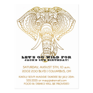 Zoo Birthday Party Elephant | Jungle Safari Party Postcard