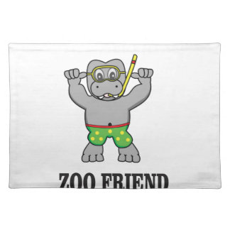 zoo friend hippo placemat