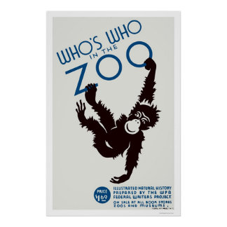 Zoo Guide Monkey 1937 WPA Poster