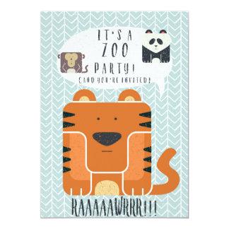 """Zoo Party themed Birthday Invitation! 5"""" X 7"""" Invitation Card"""