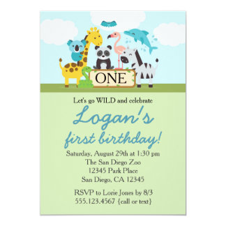 Zoo Safari Birthday Party Invitation