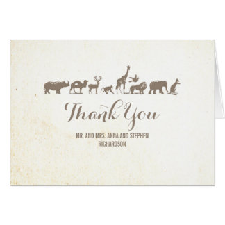 Zoo - Safari Wildlife Thank You Card