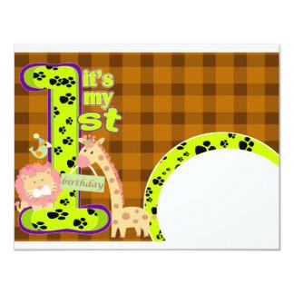 zoo Theme 1st Birthday Invitation Card
